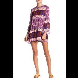 RAGA Dana boho print mini dress purple long sleeve